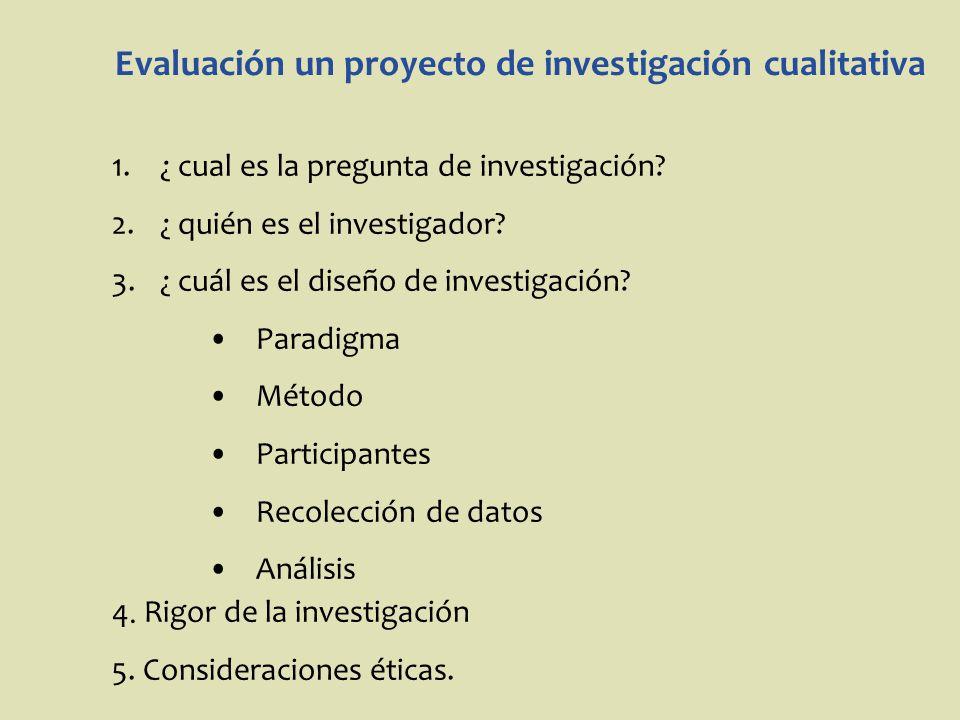Evaluación un proyecto de investigación cualitativa