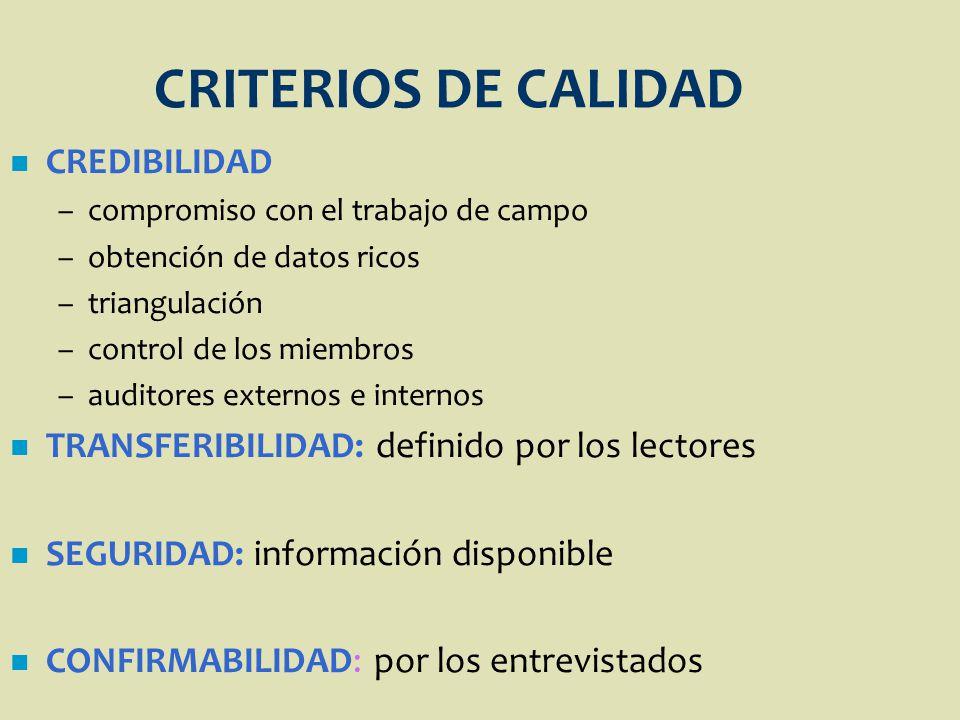 CRITERIOS DE CALIDAD CREDIBILIDAD