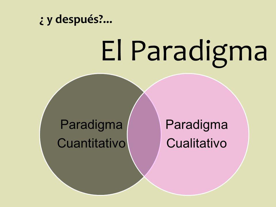 ¿ y después ... El Paradigma Paradigma Cuantitativo Cualitativo