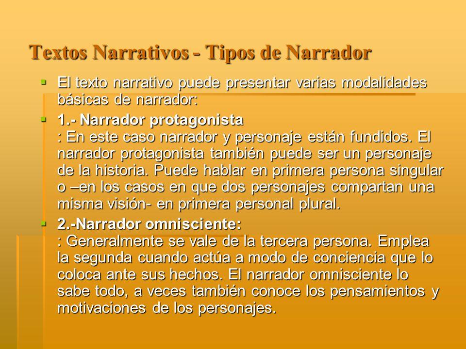 Textos Narrativos - Tipos de Narrador