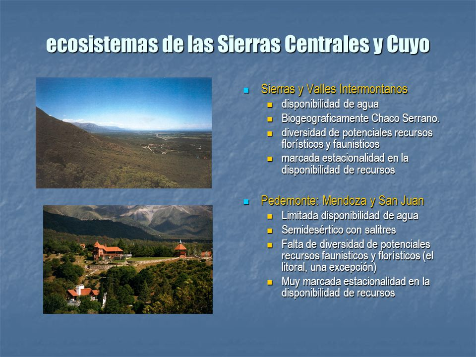 ecosistemas de las Sierras Centrales y Cuyo