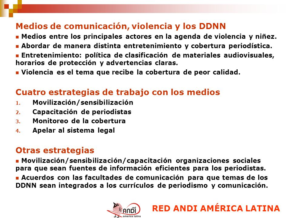 Medios de comunicación, violencia y los DDNN