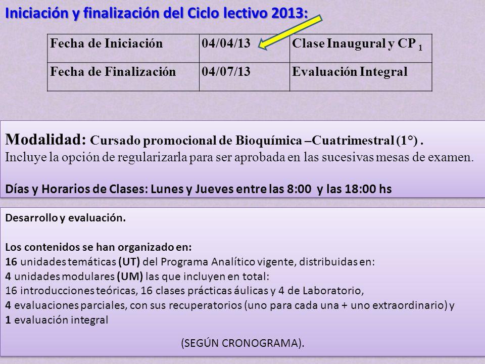 Iniciación y finalización del Ciclo lectivo 2013: