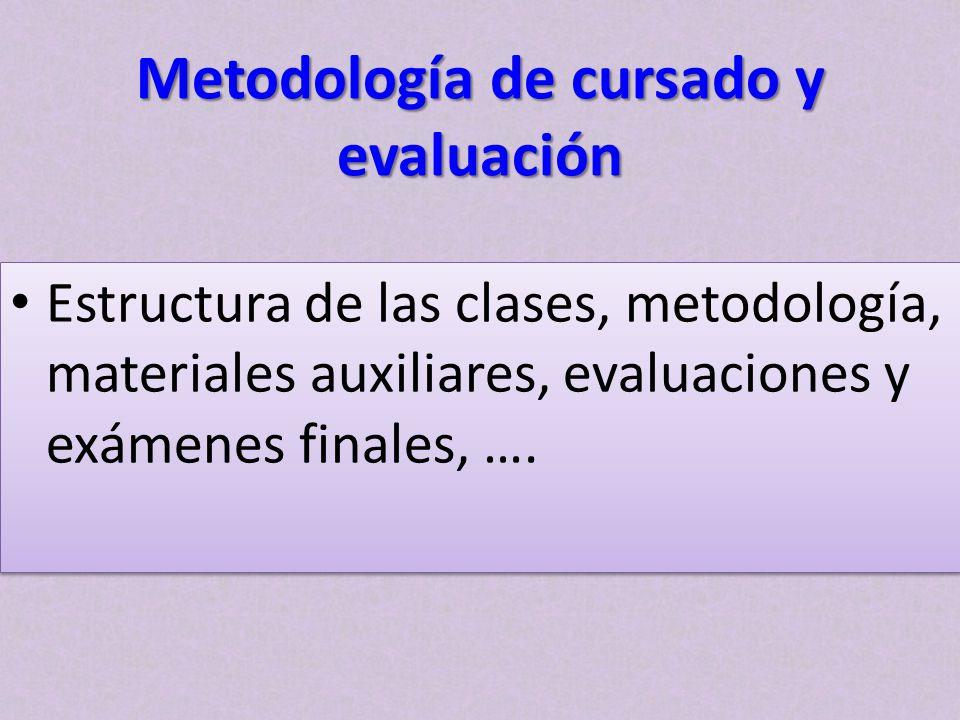 Metodología de cursado y evaluación