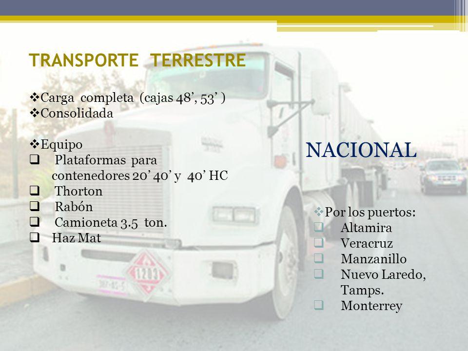 NACIONAL TRANSPORTE TERRESTRE Carga completa (cajas 48', 53' )