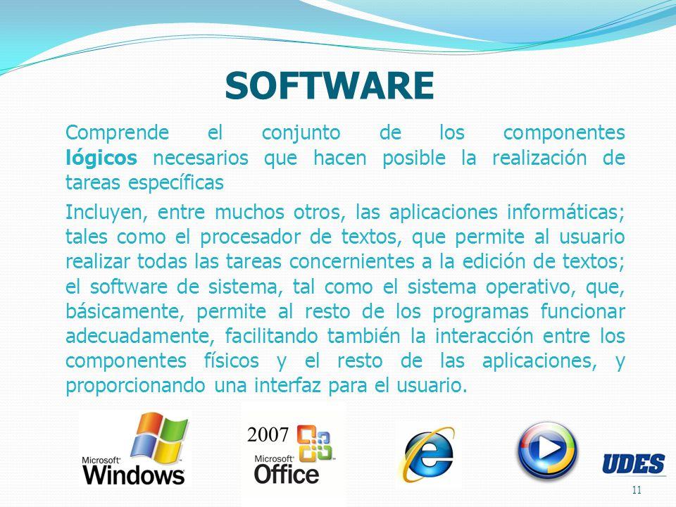 SOFTWARE Comprende el conjunto de los componentes lógicos necesarios que hacen posible la realización de tareas específicas.
