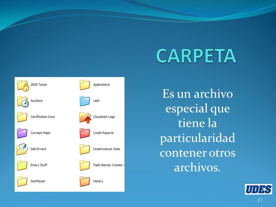 CARPETA Es un archivo especial que tiene la particularidad contener otros archivos.