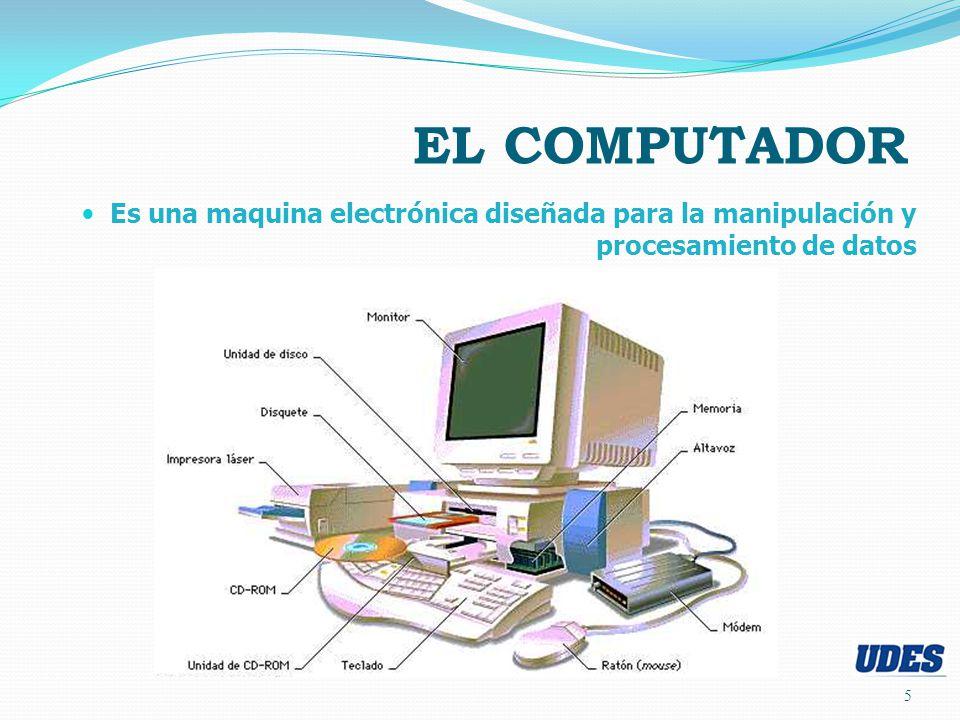 EL COMPUTADOR Es una maquina electrónica diseñada para la manipulación y procesamiento de datos