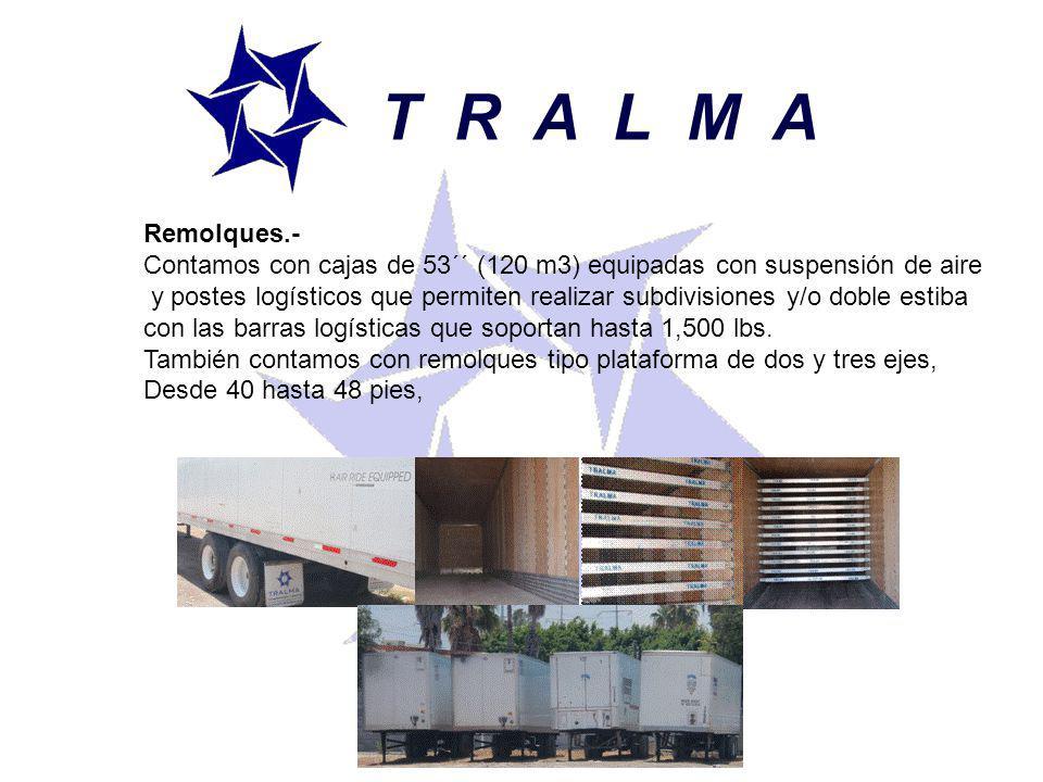 T R A L M A Remolques.- Contamos con cajas de 53´´ (120 m3) equipadas con suspensión de aire.