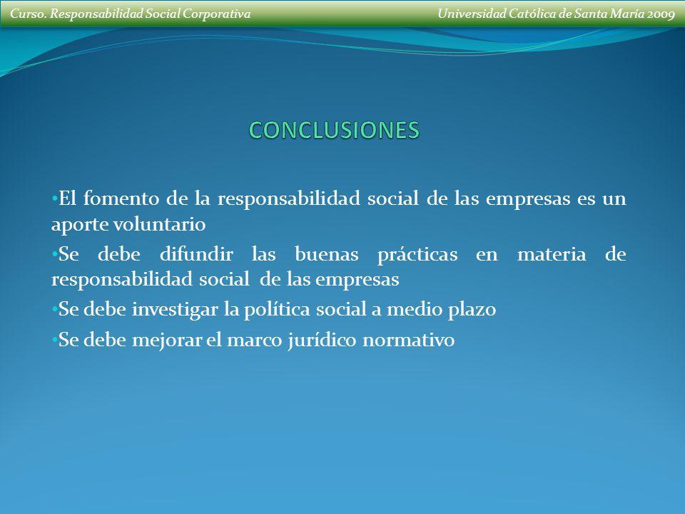 CONCLUSIONES El fomento de la responsabilidad social de las empresas es un aporte voluntario.