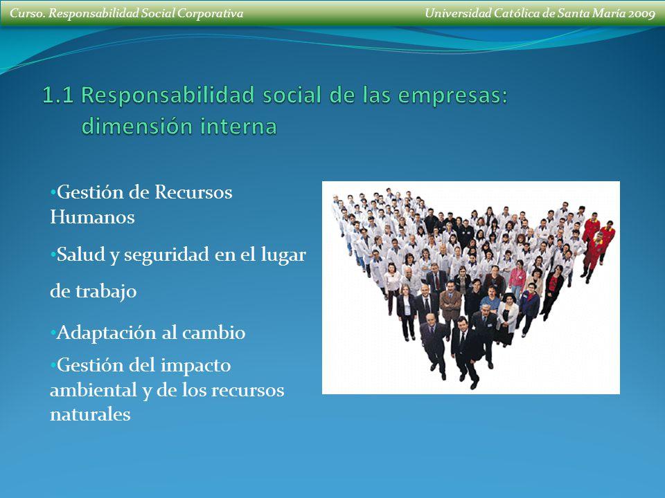 1.1 Responsabilidad social de las empresas: dimensión interna