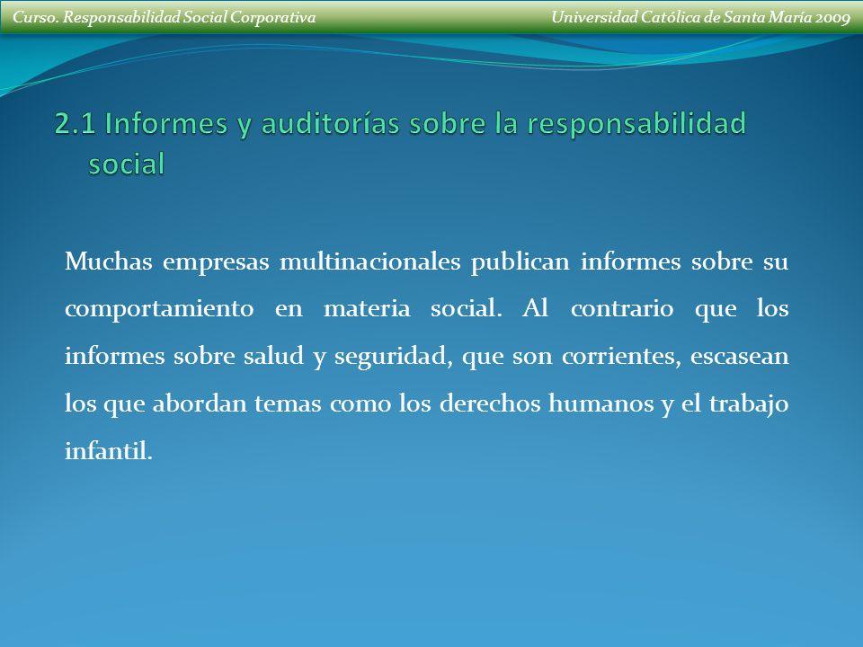 2.1 Informes y auditorías sobre la responsabilidad social