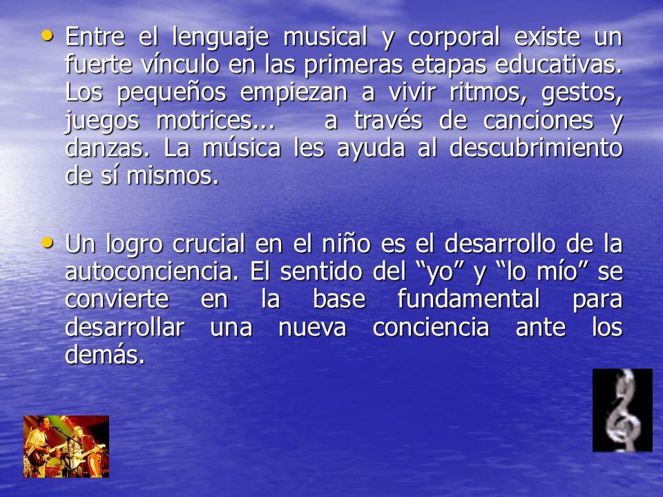 Entre el lenguaje musical y corporal existe un fuerte vínculo en las primeras etapas educativas. Los pequeños empiezan a vivir ritmos, gestos, juegos motrices... a través de canciones y danzas. La música les ayuda al descubrimiento de sí mismos.