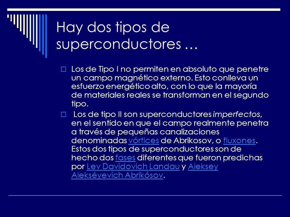 Hay dos tipos de superconductores …