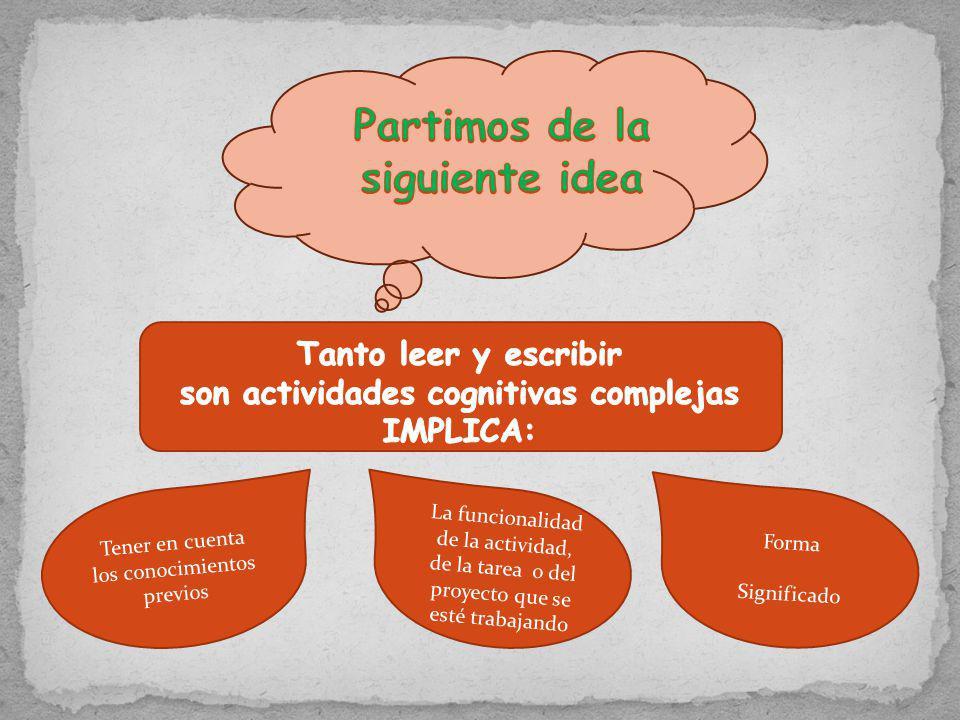 Partimos de la siguiente idea son actividades cognitivas complejas