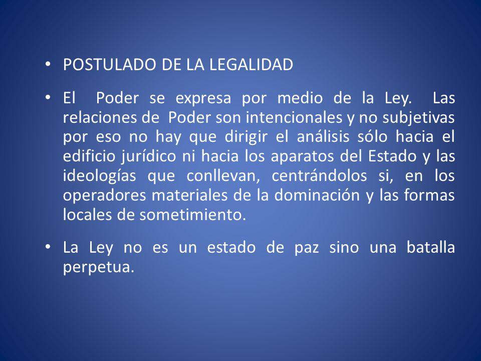 POSTULADO DE LA LEGALIDAD