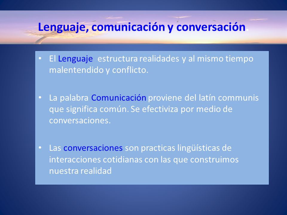 Lenguaje, comunicación y conversación.