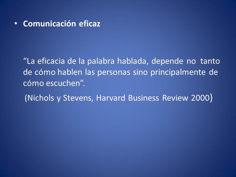 Comunicación eficaz La eficacia de la palabra hablada, depende no tanto de cómo hablen las personas sino principalmente de cómo escuchen .