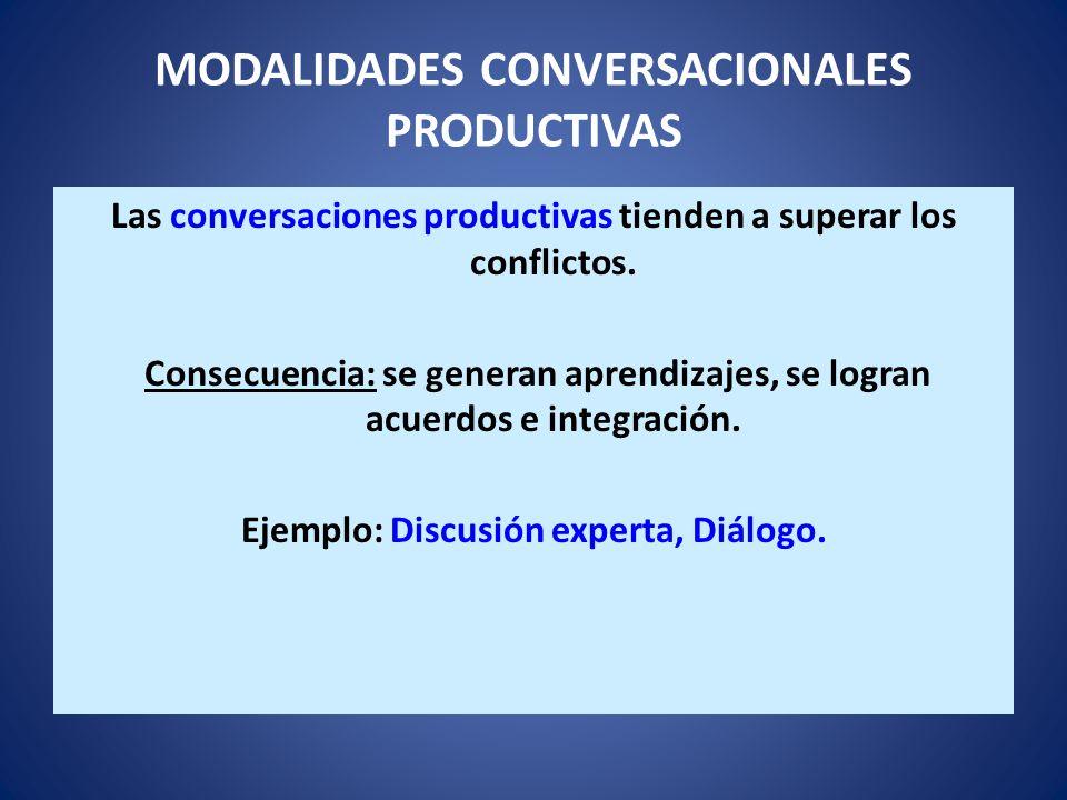 MODALIDADES CONVERSACIONALES PRODUCTIVAS