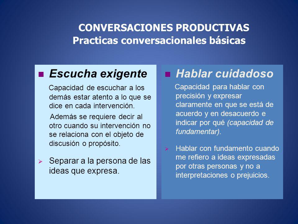 CONVERSACIONES PRODUCTIVAS Practicas conversacionales básicas