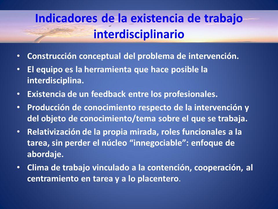 Indicadores de la existencia de trabajo interdisciplinario