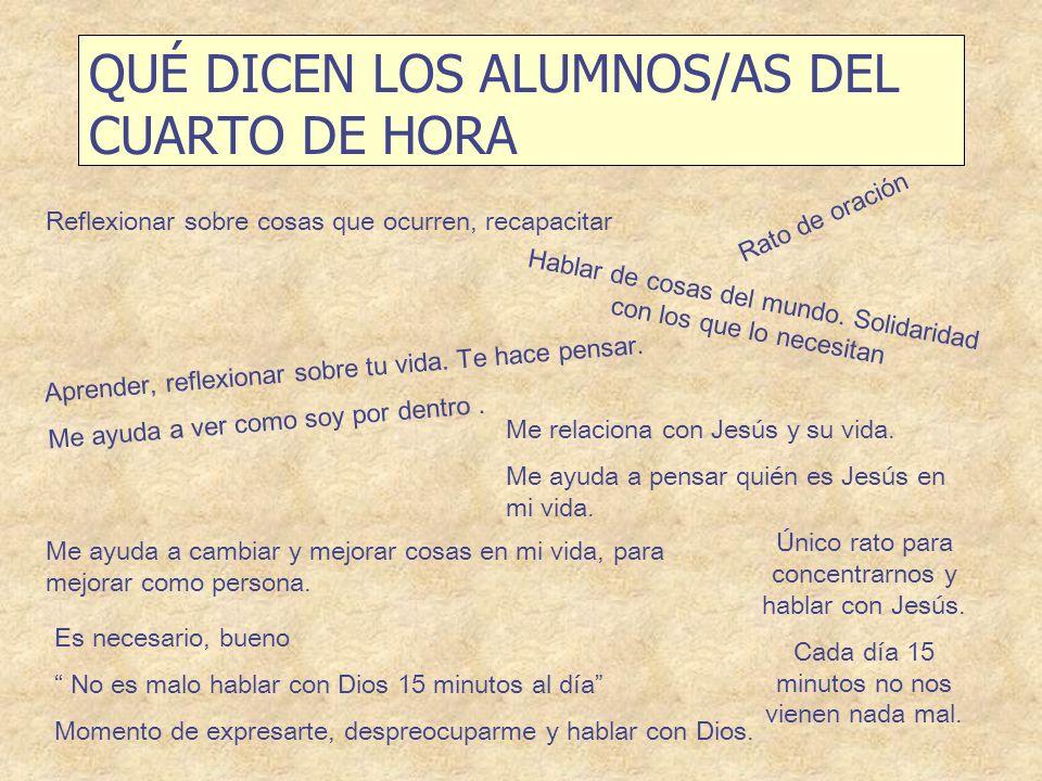 QUÉ DICEN LOS ALUMNOS/AS DEL CUARTO DE HORA