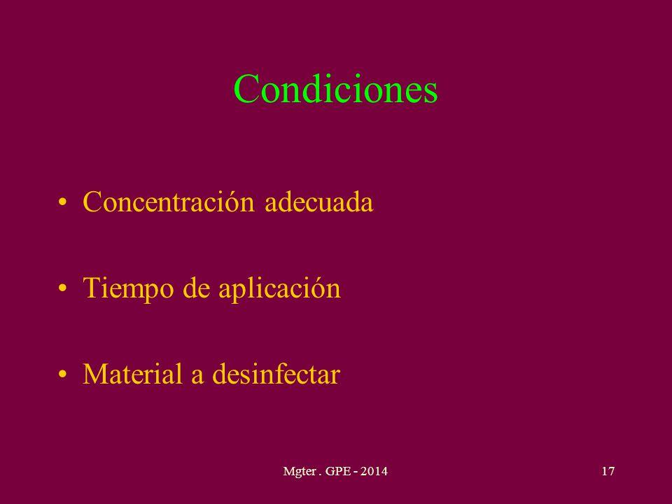 Condiciones Concentración adecuada Tiempo de aplicación
