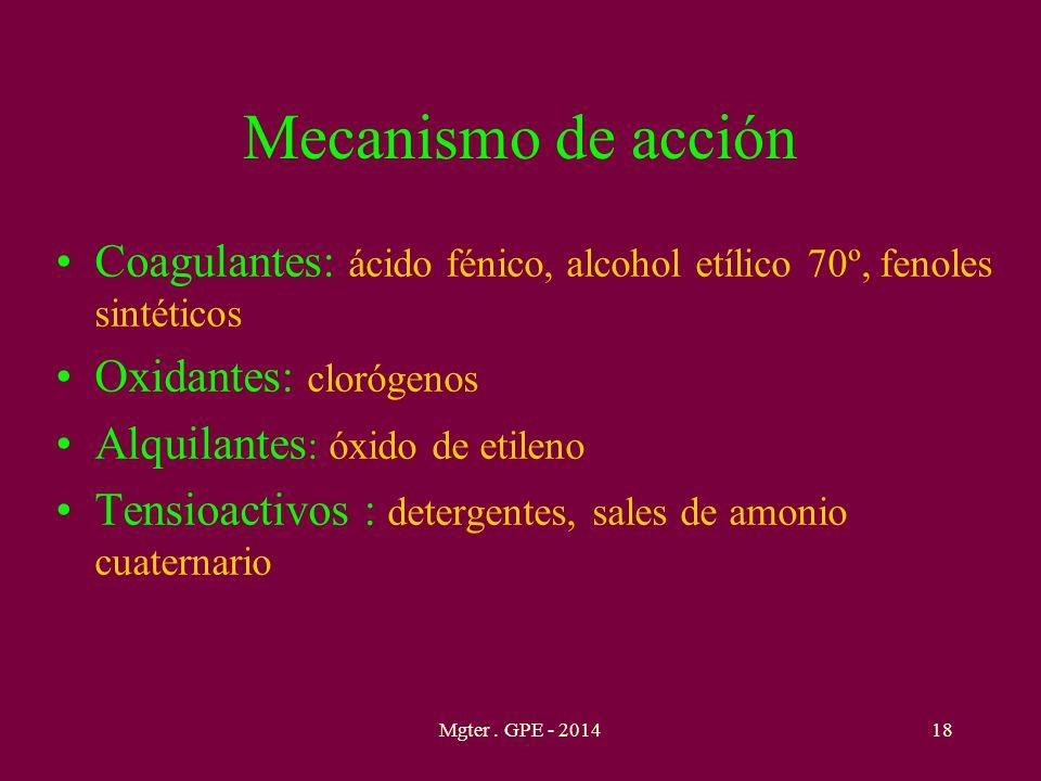 Mecanismo de acción Coagulantes: ácido fénico, alcohol etílico 70º, fenoles sintéticos. Oxidantes: clorógenos.