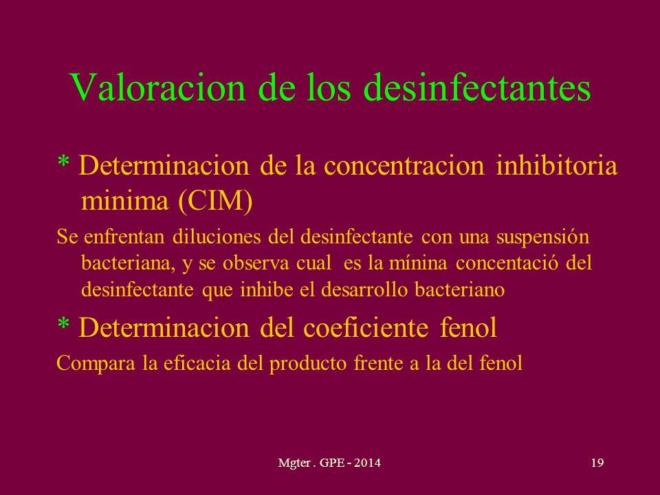 Valoracion de los desinfectantes