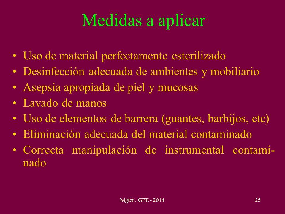 Medidas a aplicar Uso de material perfectamente esterilizado