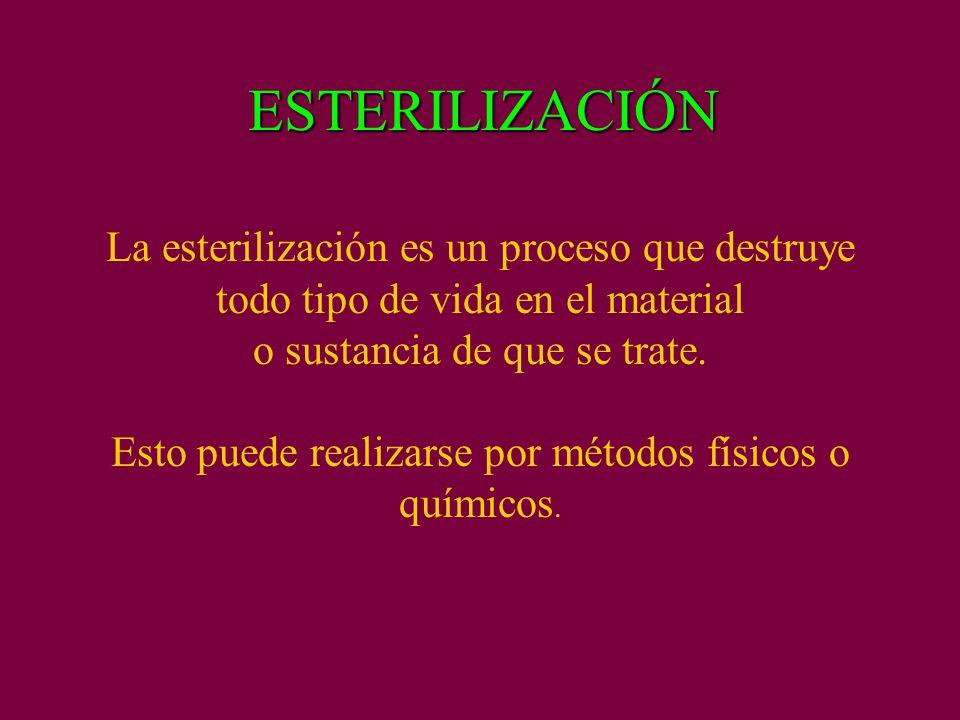 ESTERILIZACIÓN La esterilización es un proceso que destruye todo tipo de vida en el material o sustancia de que se trate.