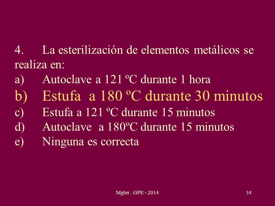 b) Estufa a 180 ºC durante 30 minutos