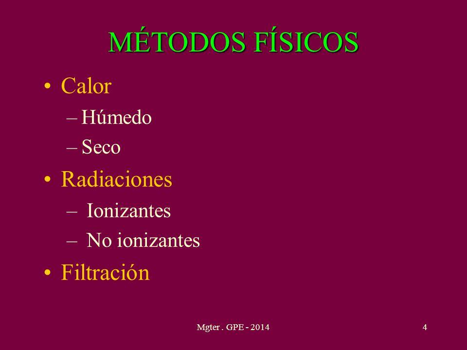 MÉTODOS FÍSICOS Calor Radiaciones Filtración Húmedo Seco Ionizantes
