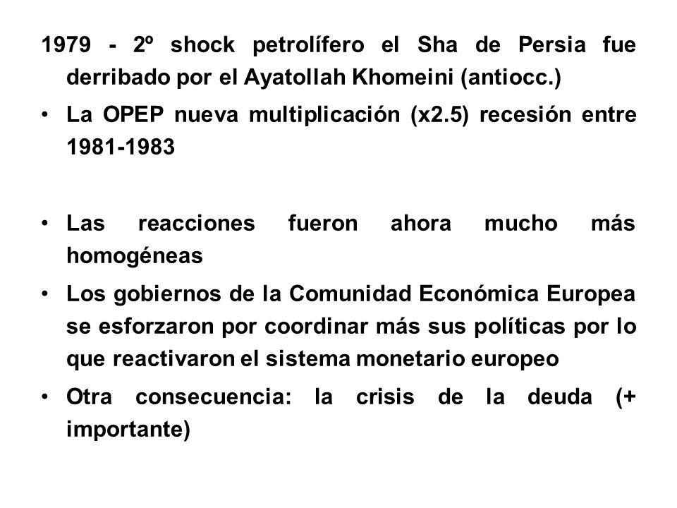 1979 - 2º shock petrolífero el Sha de Persia fue derribado por el Ayatollah Khomeini (antiocc.)