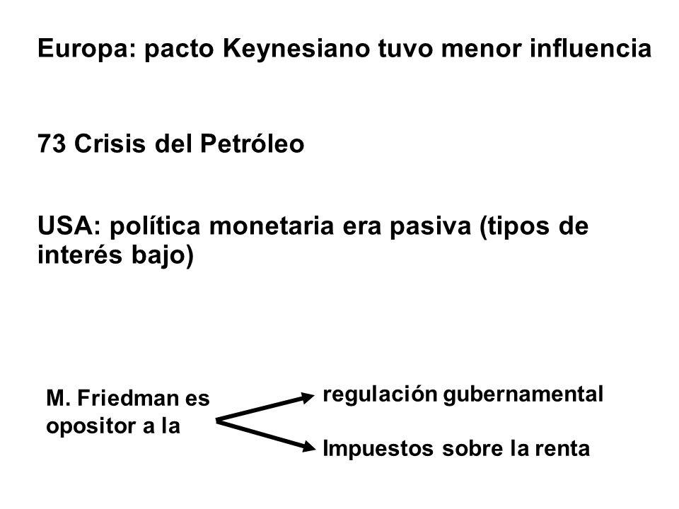 Europa: pacto Keynesiano tuvo menor influencia