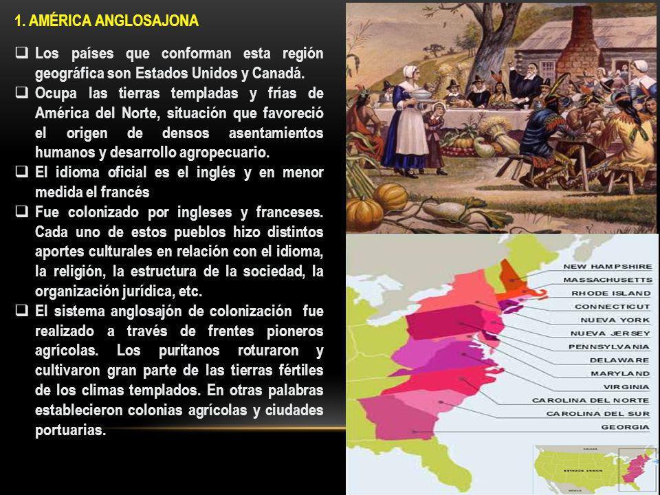 1. AMÉRICA ANGLOSAJONA Los países que conforman esta región geográfica son Estados Unidos y Canadá.