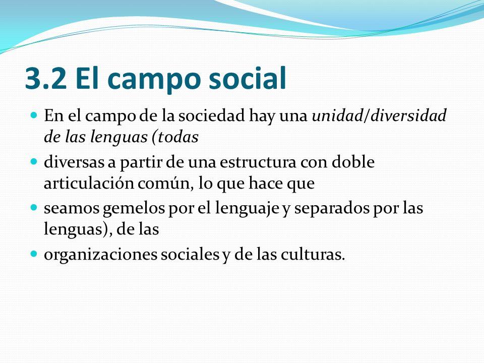 3.2 El campo social En el campo de la sociedad hay una unidad/diversidad de las lenguas (todas.
