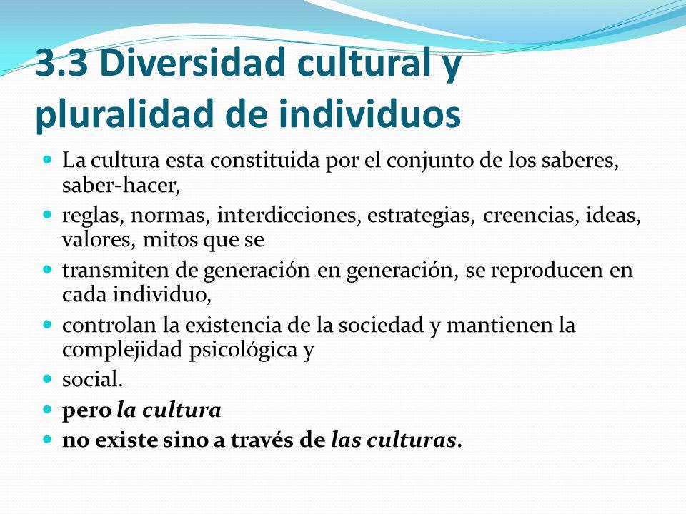 3.3 Diversidad cultural y pluralidad de individuos