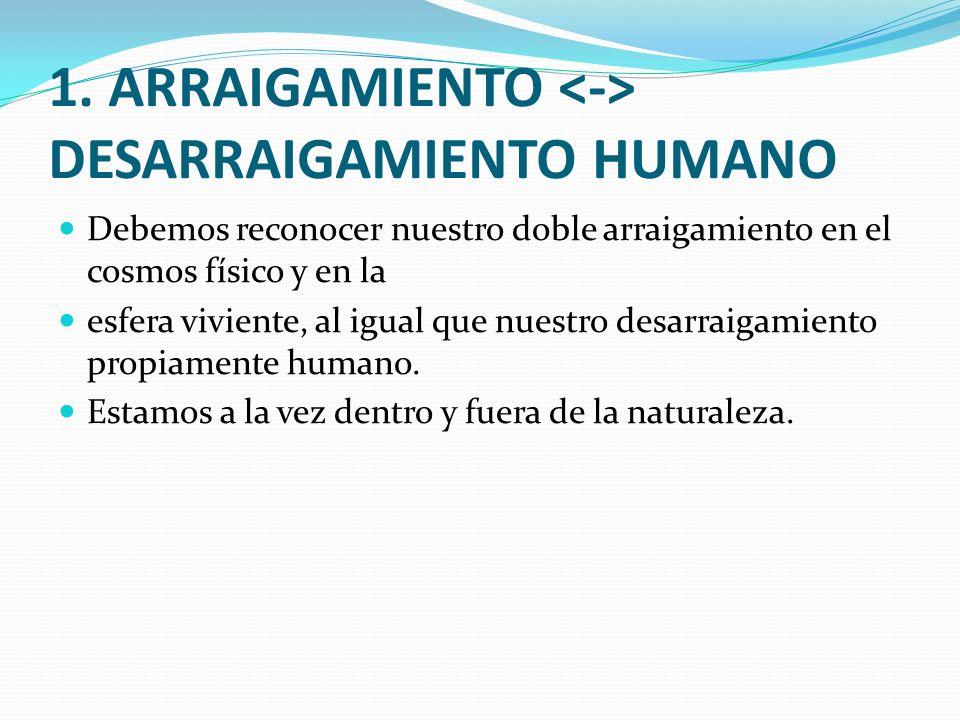 1. ARRAIGAMIENTO <-> DESARRAIGAMIENTO HUMANO