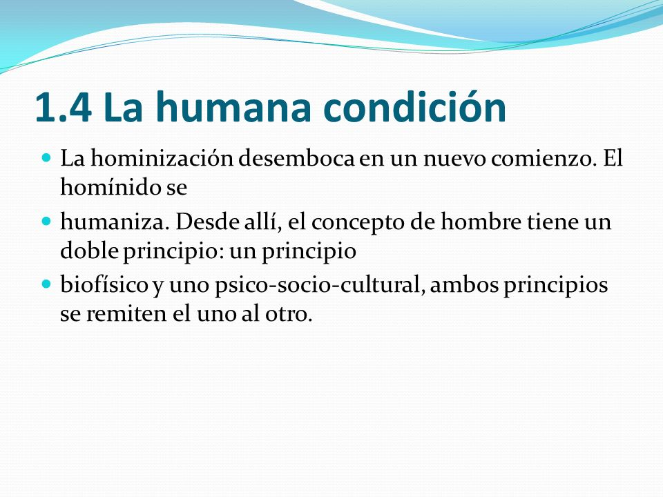 1.4 La humana condiciónLa hominización desemboca en un nuevo comienzo. El homínido se.