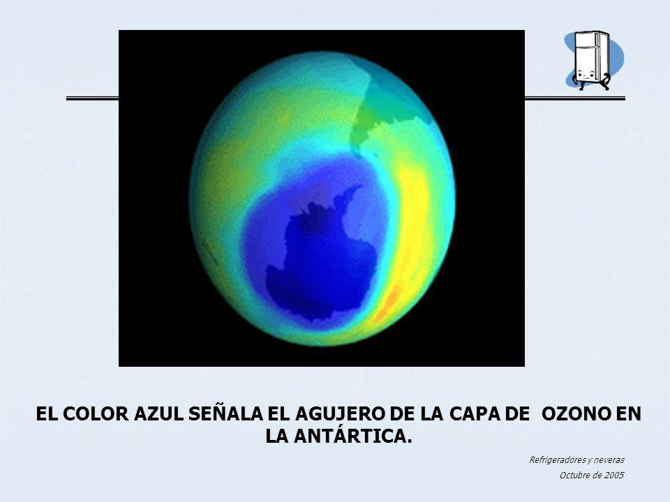 EL COLOR AZUL SEÑALA EL AGUJERO DE LA CAPA DE OZONO EN LA ANTÁRTICA.