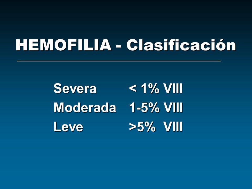 HEMOFILIA - Clasificación
