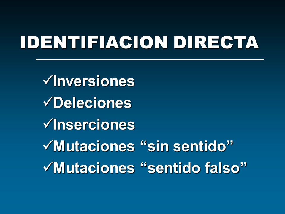 IDENTIFIACION DIRECTA
