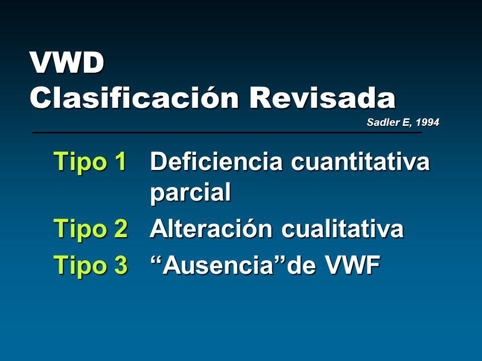 VWD Clasificación Revisada Sadler E, 1994