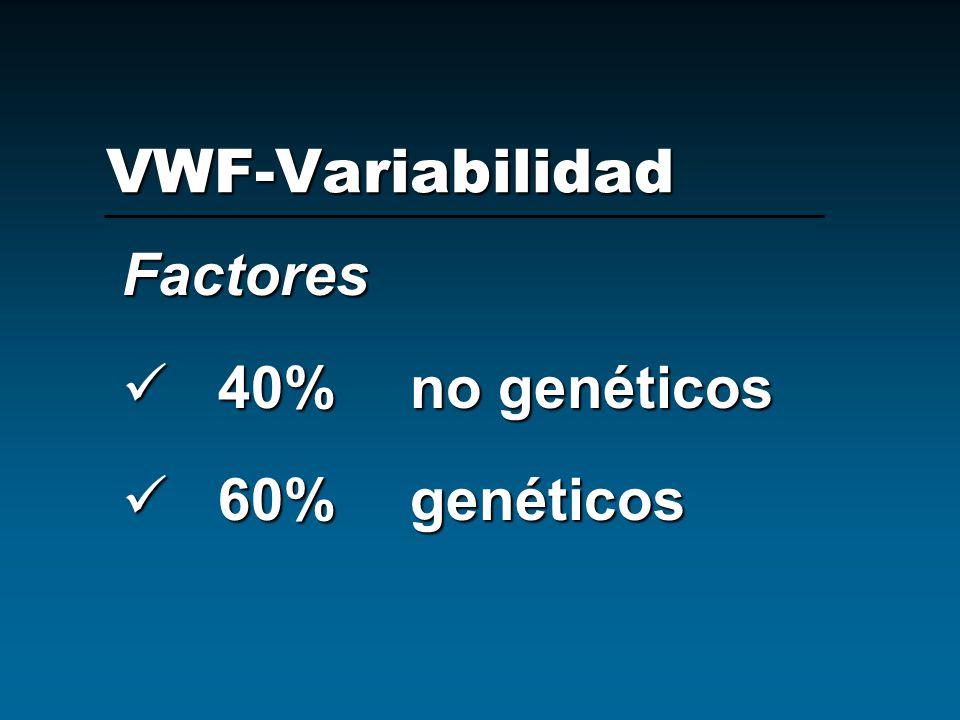 VWF-Variabilidad Factores 40% no genéticos 60% genéticos