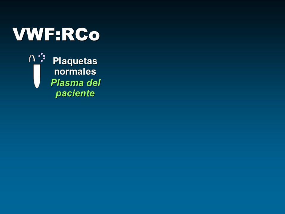 VWF:RCo Plaquetas normales Plasma del paciente