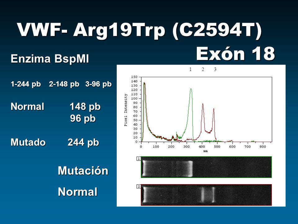 VWF- Arg19Trp (C2594T) Exón 18 Enzima BspMI Mutación Normal