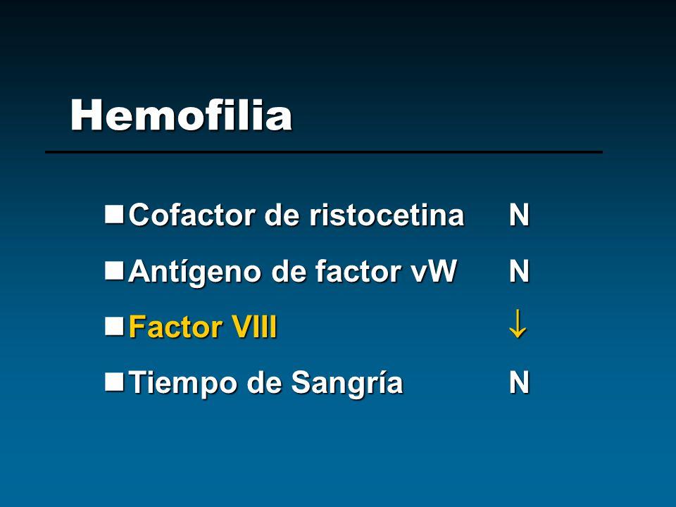 Hemofilia Cofactor de ristocetina N Antígeno de factor vW N