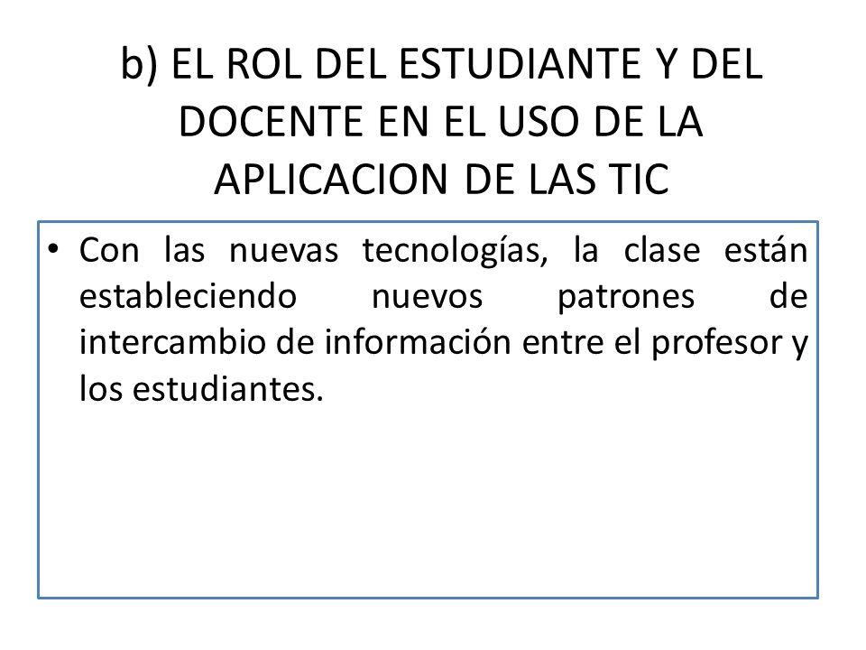 b) EL ROL DEL ESTUDIANTE Y DEL DOCENTE EN EL USO DE LA APLICACION DE LAS TIC