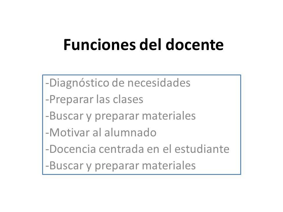 Funciones del docente -Diagnóstico de necesidades -Preparar las clases